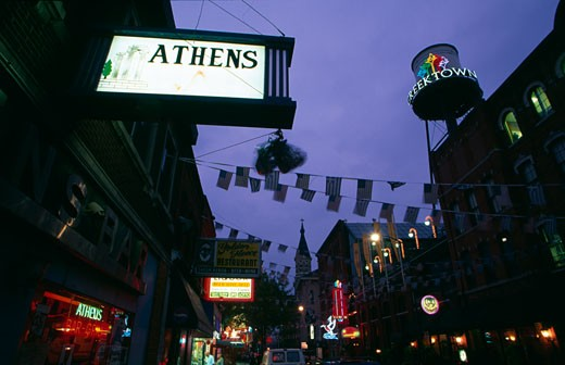 Stock Photo: 1486-496A Street lit up at dusk, Greektown Historic District, Detroit, Michigan, USA