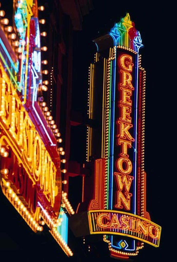 Stock Photo: 1486-497 Low angle view of a casino lit up at night, Greektown Casino, Detroit, Michigan, USA