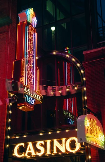 Low angle view of a casino lit up at night, Greektown Casino, Detroit, Michigan, USA : Stock Photo