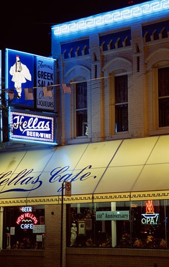 Stock Photo: 1486-501 Facade of a cafe, Hellas Cafe, Greektown Historic District, Detroit, Michigan, USA