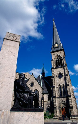 Statue in front of a church, William Marbury Statue, Central United Methodist Church, Detroit, Michigan, USA : Stock Photo