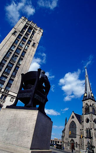 Stock Photo: 1486-509 Statue in front of a church, Hazen Pingree Statue, Central United Methodist Church, Detroit, Michigan, USA