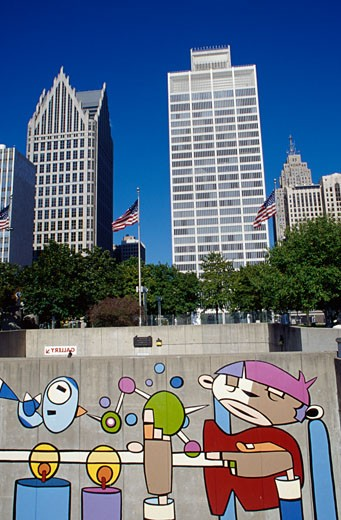 Stock Photo: 1486-513A Mural on a wall, Detroit International Riverfront, Detroit, Michigan, USA
