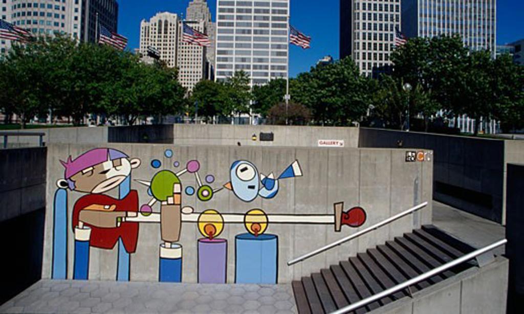 Mural on a wall, Detroit International Riverfront, Detroit, Michigan, USA : Stock Photo