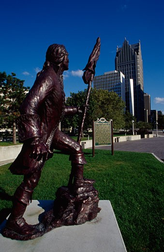Statue of Antoine de la Mothe Cadillac, Landing of Cadillac, Detroit, Michigan, USA : Stock Photo
