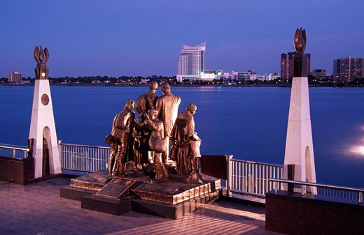 Monument at the waterfront, Gateway To Freedom, Detroit River, Detroit, Michigan, USA : Stock Photo