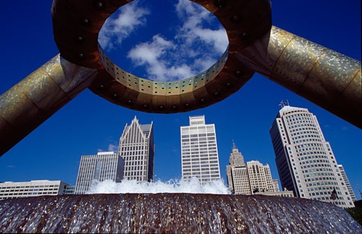 Low angle view of a fountain, Dodge Fountain, Detroit International Riverfront, Detroit, Michigan, USA : Stock Photo