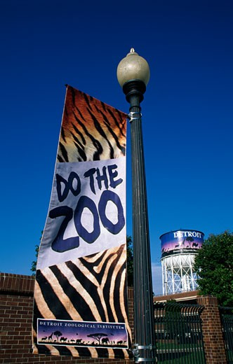 Banner of a zoo, Detroit Zoo, Detroit, Michigan, USA : Stock Photo