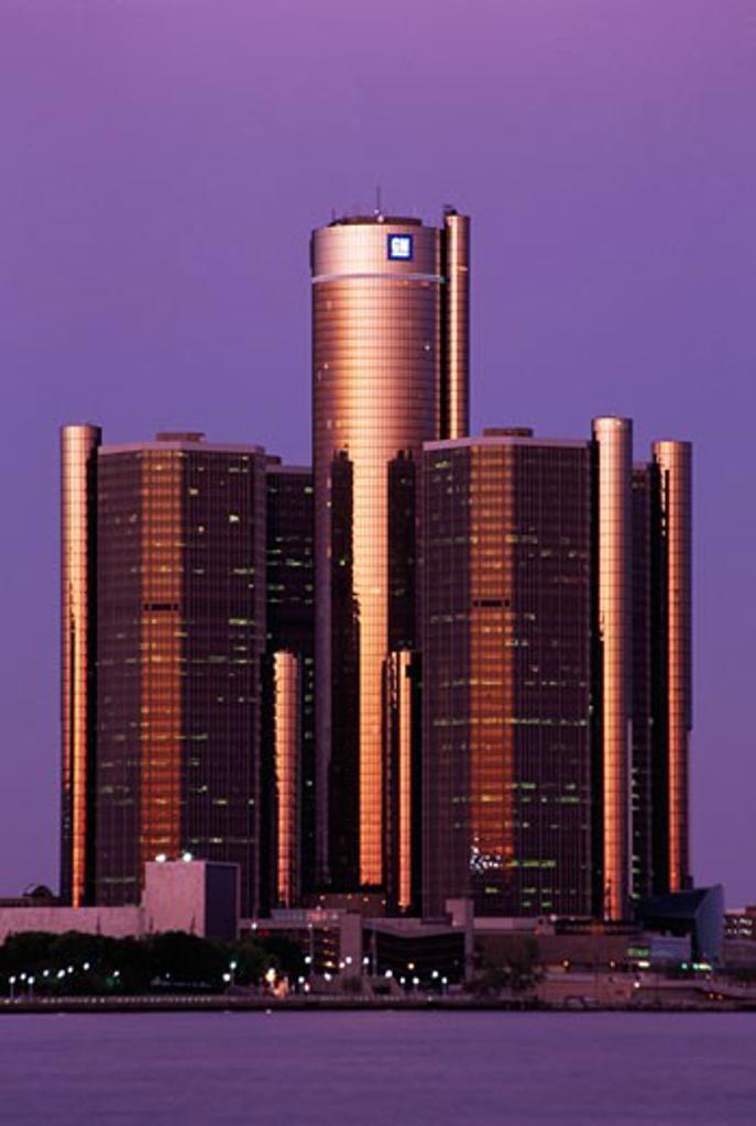 Buildings at the waterfront, Renaissance Center, Detroit River, Detroit, Michigan, USA : Stock Photo