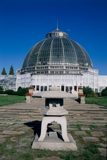 Stock Photo: 1486-535A Facade of a greenhouse, Anna Scripps Whitcomb Conservatory, Belle Isle Park, Detroit, Michigan, USA