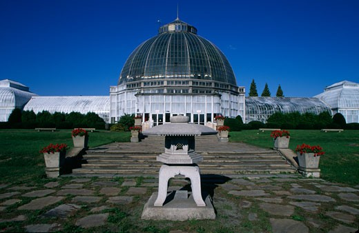 Facade of a greenhouse building, Whitcomb Conservatory, Belle Isle Park, Detroit, Michigan, USA : Stock Photo