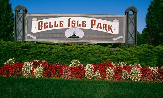 Stock Photo: 1486-542 Information board in a park, Belle Isle Park, Detroit, Michigan, USA