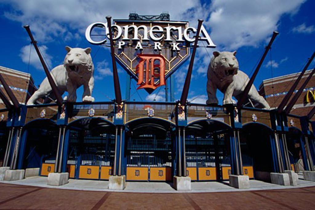 Entrance of a baseball stadium, Comerica Park, Detroit, Michigan, USA : Stock Photo