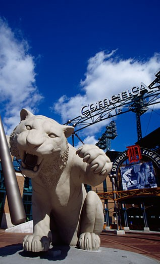 Tiger's statue in front of a baseball stadium, Comerica Park, Detroit, Michigan, USA : Stock Photo