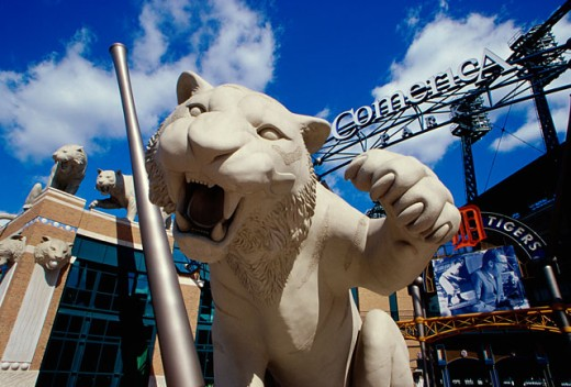 Low angle view of an animal sculpture at the Comerica Park, Detroit, Michigan, USA : Stock Photo
