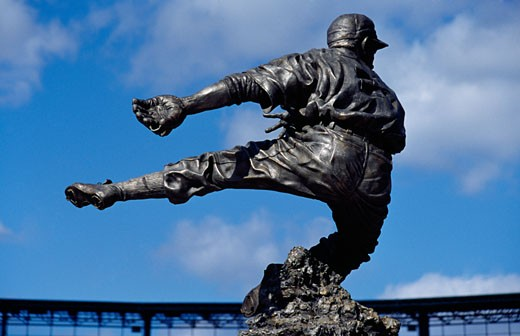 Stock Photo: 1486-550 Statue of Al Kaline a former professional baseball  player and member of the Baseball Hall of Fame, Comerica Park, Detroit, Michigan, USA