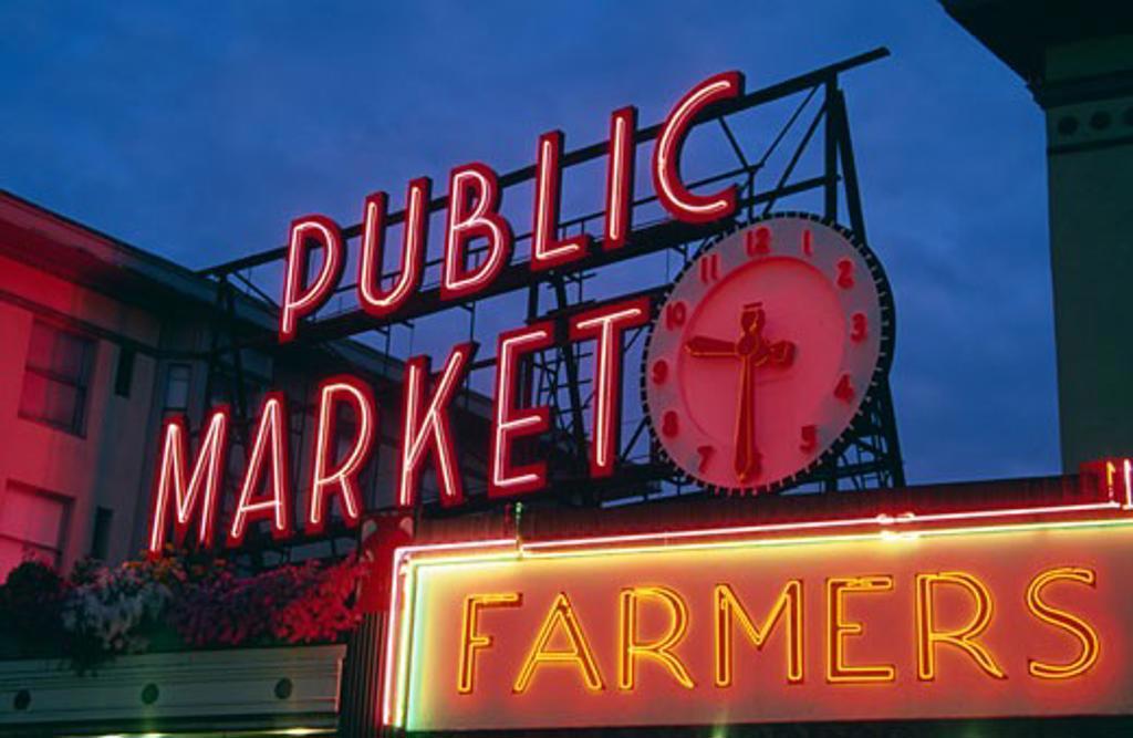 Neon public market sign, Pike Place Market, Seattle, Washington State, USA : Stock Photo