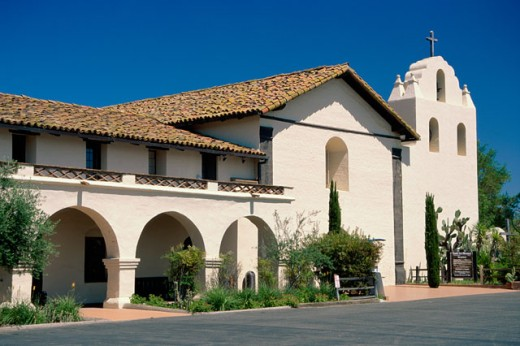 Facade of a building, Mission Santa Ines, Solvang, California, USA : Stock Photo