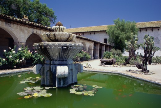 Stock Photo: 1486-5819 Fountain in the courtyard of a church, Mission San Miguel Arcangel, San Miguel, California, USA