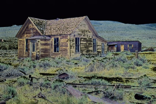 Stock Photo: 1486-5962 An abandoned log cabin, Bodie State Historic Park, California, USA