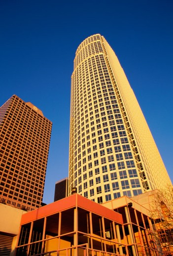 Stock Photo: 1486-6014 Low angle view of a high rise building, Los Angeles, California, USA