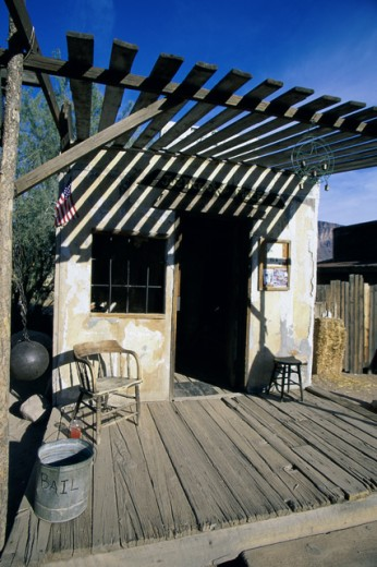 Stock Photo: 1486-6268 Facade of a building, Goldfield Ghost Town, Apache Junction, Arizona, USA