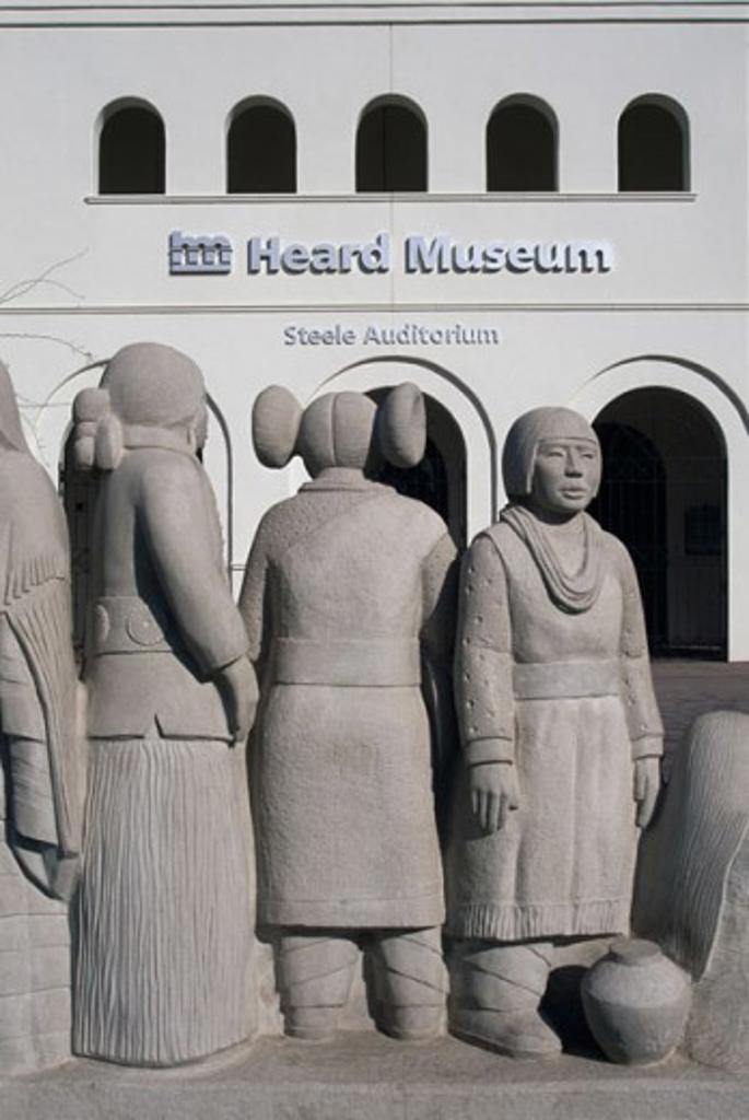 Stock Photo: 1486-6302 Tribal Greeting Sculpture Heard Museum Phoenix, Arizona, USA