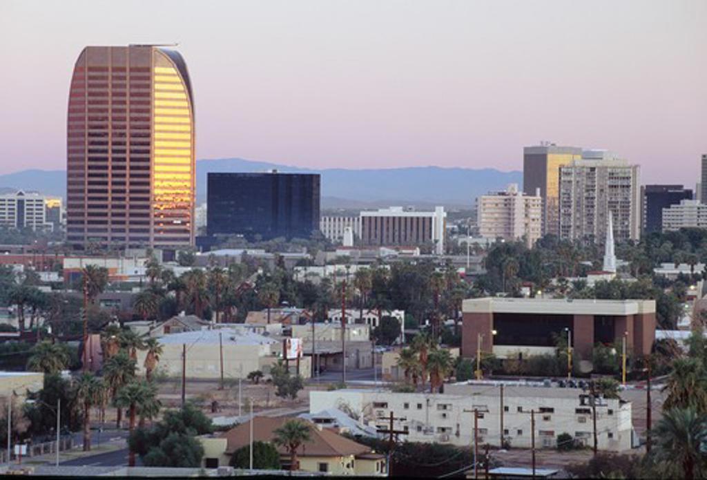 USA, Arizona, Phoenix cityscape at dawn : Stock Photo