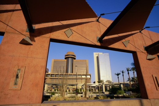 Low angle view of buildings viewed through a window, Phoenix Civic Plaza, Phoenix, Arizona, USA : Stock Photo