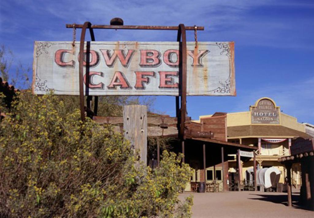 Stock Photo: 1486-6529 Commercial sign outside a film studio, Old Tucson Studios, Arizona, USA