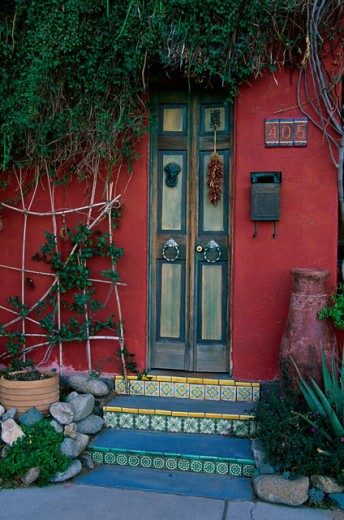 Front Door of a house, Tucson, Arizona, USA : Stock Photo