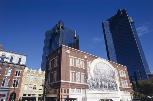 Stock Photo: 1486-720 Low angle view of a mural on a building, Chisholm Trail Mural, D.R. Horton Tower, Wells Fargo Tower, Fort Worth, Texas, USA