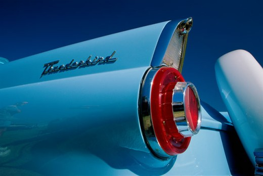 Stock Photo: 1486-7319A Low angle view of the rear fins of the 1956 Ford T-Bird
