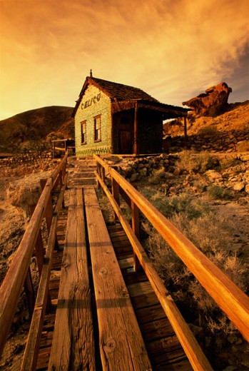 Wooden platform leading to a house, Calico Ghost Town, California, USA : Stock Photo