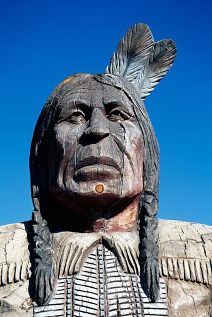 Stock Photo: 1486-7387 Low angle view of a statue, Big Bear Lake, California, USA
