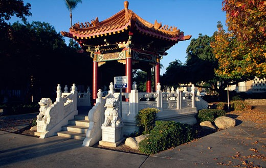 Stock Photo: 1486-7487 Chinese pavilion in a park, Riverside, California, USA