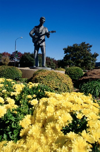 Stock Photo: 1486-768 Statue in a formal garden, Buddy Holly Statue, Lubbock, Texas, USA