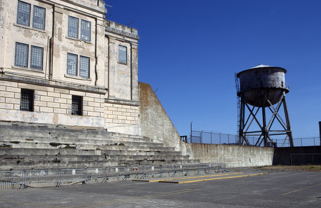 Stock Photo: 1486-7743 Water tank near a building, Alcatraz Island, San Francisco, California, USA
