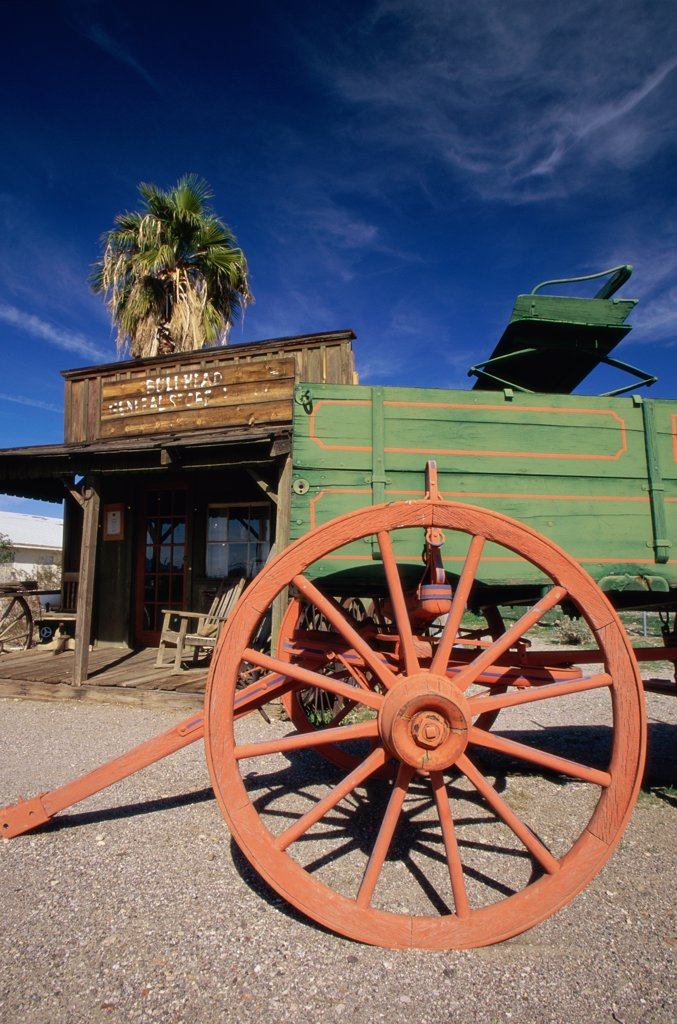 Low angle view of a wagon, Colorado River Museum, Laughlin, Nevada, USA : Stock Photo