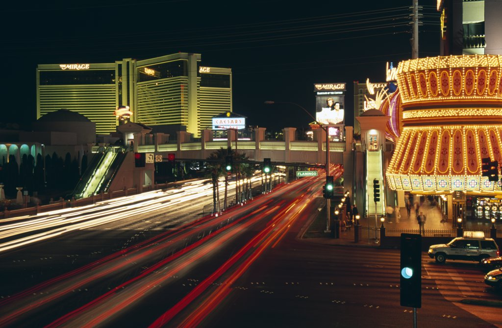 Traffic on the road in a city, Las Vegas, Nevada, USA : Stock Photo