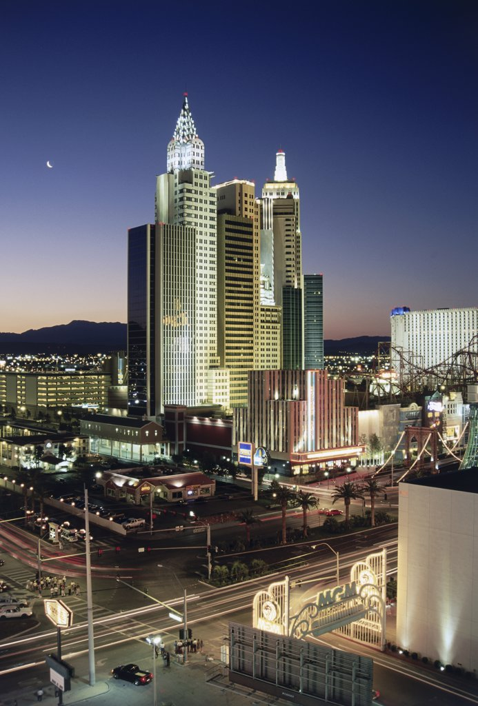 High view of a hotel, New York New York Hotel and Casino, Las Vegas, Nevada, USA : Stock Photo