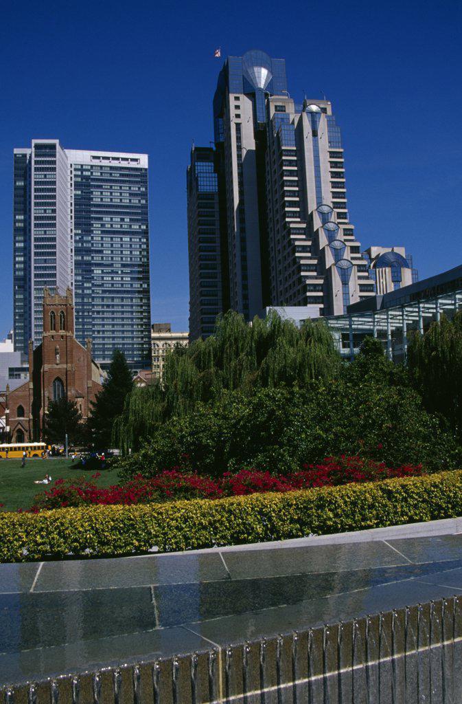 Pond in a garden, Yerba Buena Gardens, San Francisco, California, USA : Stock Photo