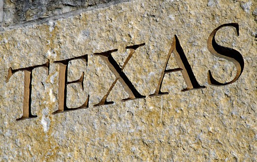 Stock Photo: 1486-860A Texas engraving on a wall, Texas State Cemetery, Austin, Texas, USA
