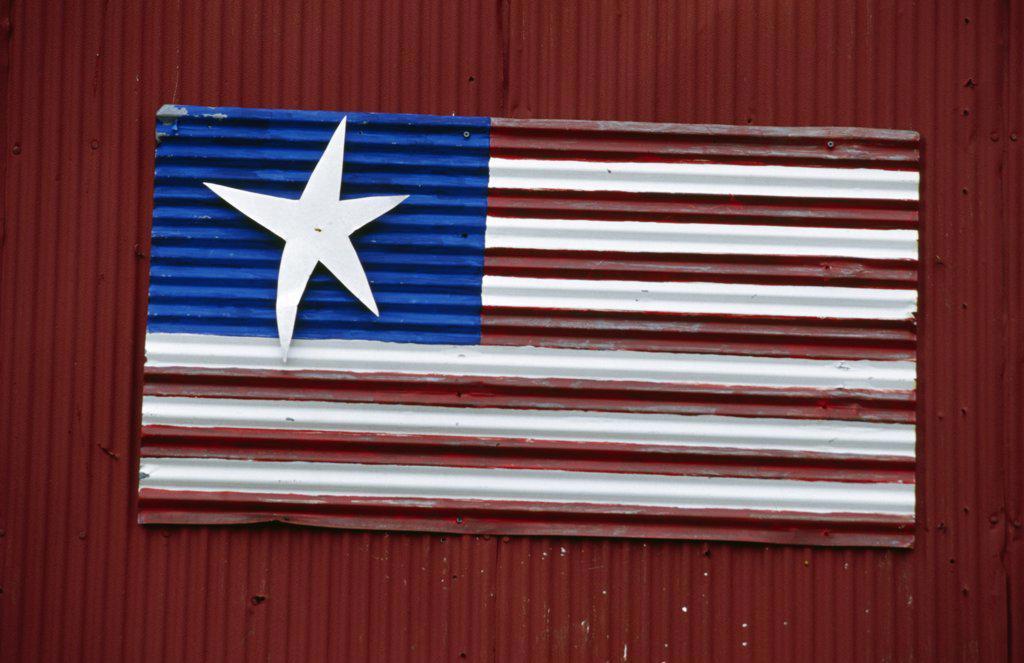 USA, Missouri, Hannibal, Paper flag of USA : Stock Photo