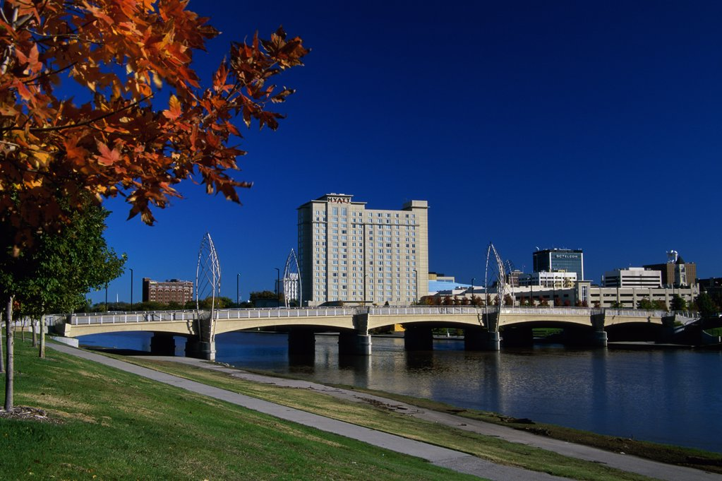Bridge on Arkansas River, Wichita, Kansas, USA : Stock Photo