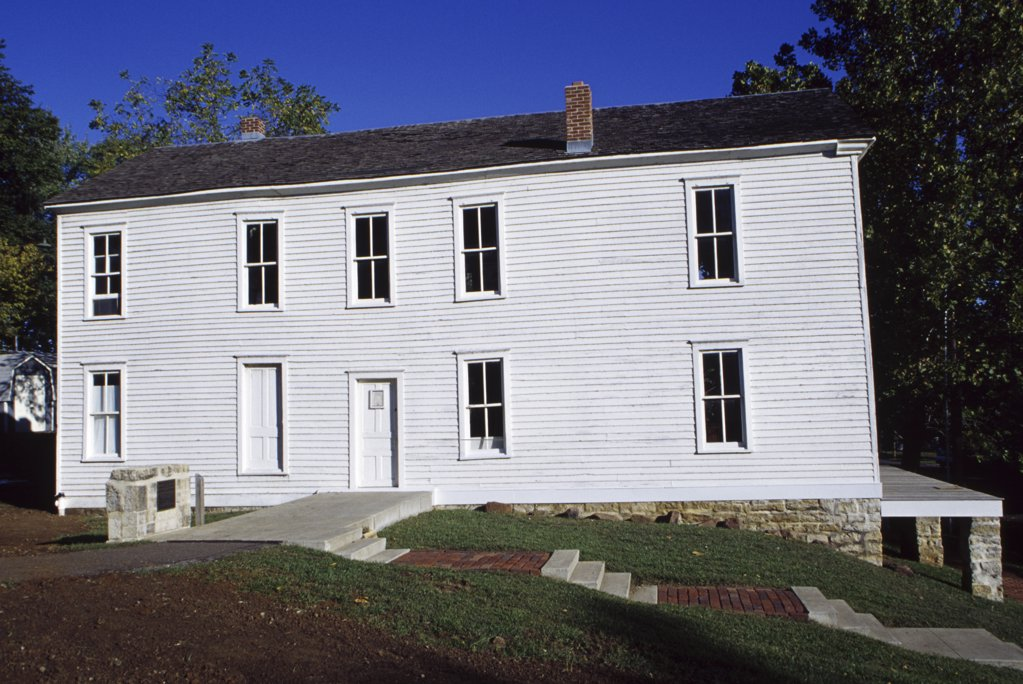 Facade of a building, Lecompton Constitution Hall, Lecompton, Kansas, USA : Stock Photo