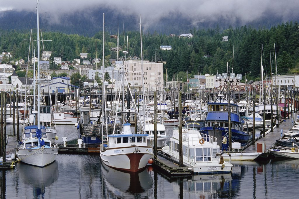 Stock Photo: 1486-8750 High angle view of boats docked in a harbor, Ketchikan, Alaska, USA