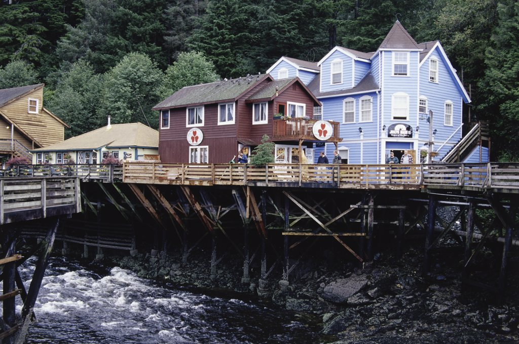 Stock Photo: 1486-8751 Stores on a riverside, Ketchikan, Alaska, USA