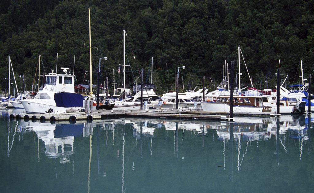 Stock Photo: 1486-8754 Boats docked at a harbor, Skagway, Alaska, USA