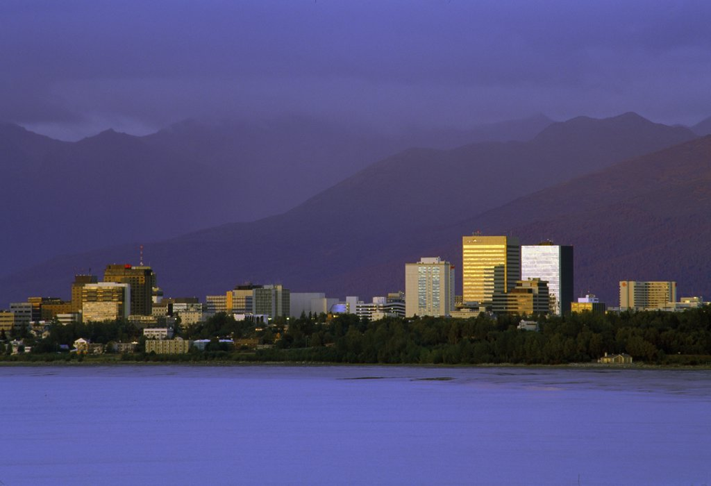 Buildings on the waterfront, Anchorage, Alaska, USA : Stock Photo